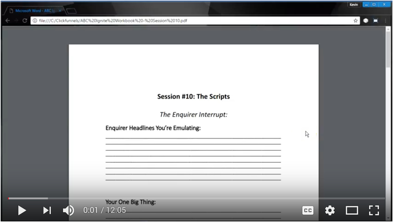 Video - Day 10 - Step 3 of 4 - Walk-through The Enquirer Interrupt Script - Cold Traffic