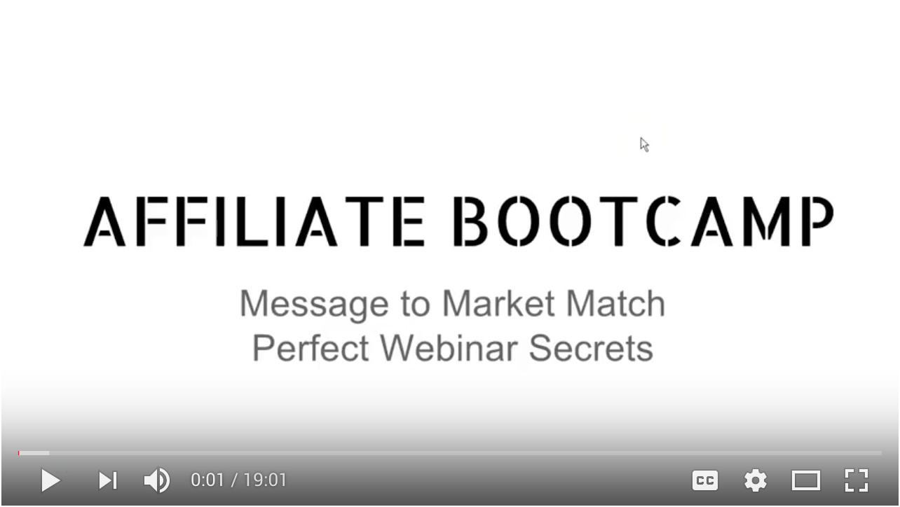 Video - Day 21 - Message to Market Match - Perfect Webinar Secrets