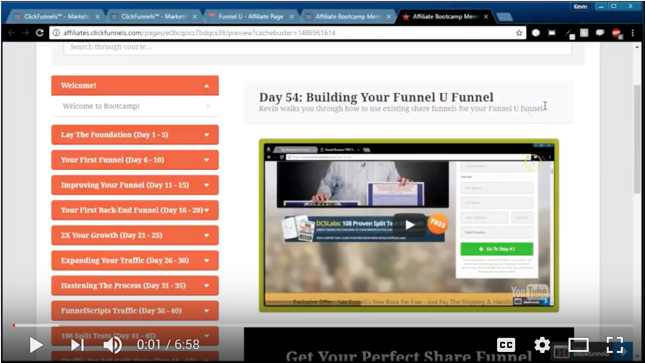 Video - Day 54 - Building Your Funnel U Funnel